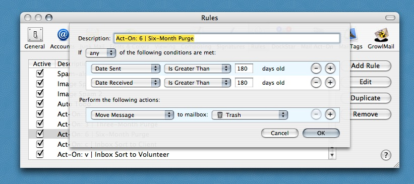 Mail rule dialog set for PaperJamming
