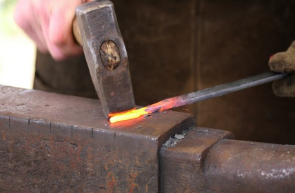 Old-time blacksmith at work