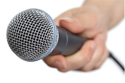 Interviewer's microphone